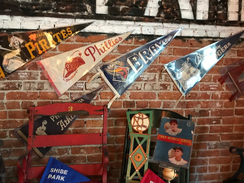 Pennants for the Pirates, Phillies, Braves and Dodgers